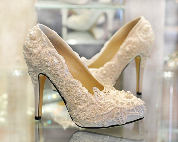Wedding - New Ivory lace shoes, handmade lace bridal shoes, Ivory lace wedding shoes, Ivory lace shoes,bling lace shoes in handmade