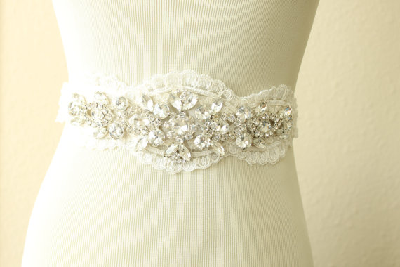 Mariage - Lace and Rhinestone Bridal Sash, Bridal Gown Sash, Bridal Belt-Style No.S504
