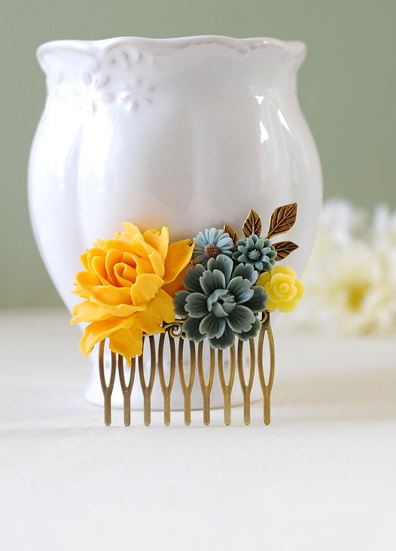 Wedding - Yellow Rose Grey Flowers Hair Comb, Yellow and Gray Wedding Hair Accessory, Yellow Flower Leaf Branch Bridal Hair Comb, Bridesmaid Gift