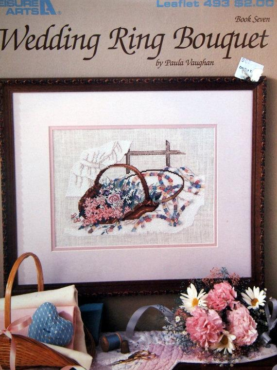 Mariage - Wedding Ring Bouquet Book Seven By Paula Vaughan Vintage Cross Stitch Pattern Leaflet 1987