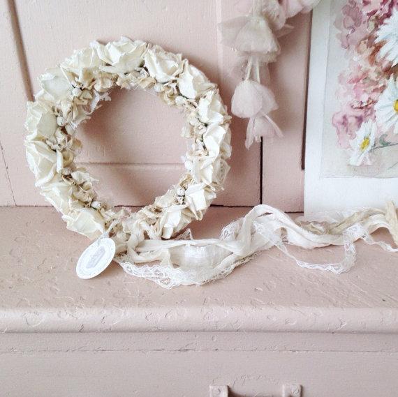 Wedding - SHABBYFORME millinery rose crown ~ Creamy White  wedding headband flower  hair crown wedding bridal bride flower girl mommy and me baby girl