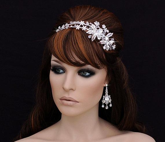 زفاف - Swarovski Headband , Wedding Headband , Bridal Headpiece , Bridal Hair Accessory ,  Prom Crystal Bachelorette Headband