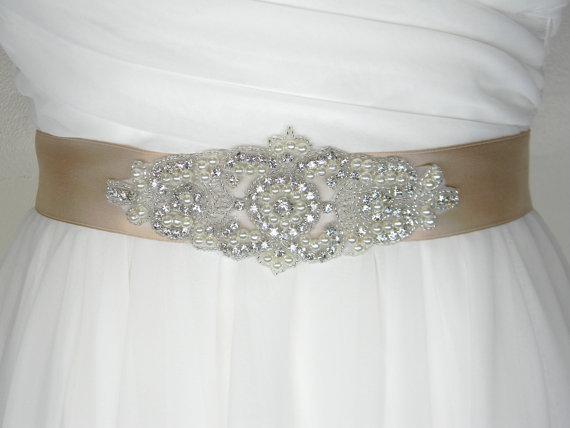 Plus size wedding belt long bridal sash satin bridal for Pearl belt for wedding dress