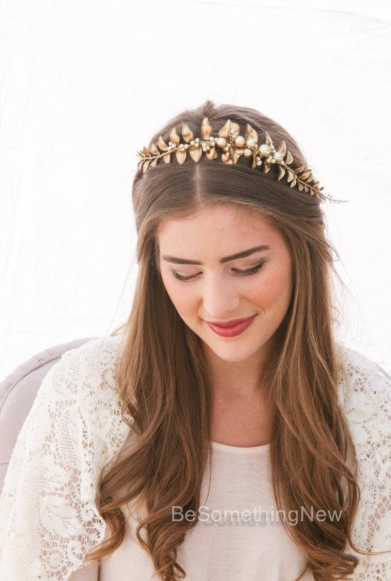 زفاف - Golden Leaf and Champagne Pearl Headband Woodland Leaf Wedding Hair Accessory Gold Wedding Headband Headband for Adults, Leaf Hair Accessory