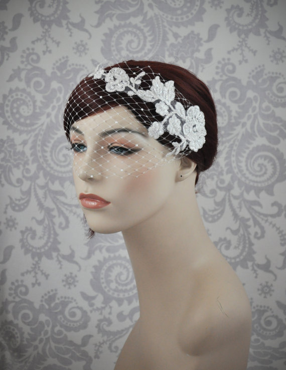 Mariage - Birdcage Veil, Bird Cage Veil, Lace Bandeau Veil with pearls, French Netting Veil, Retro, Vintage Style Veil, ivory, white - 103BC
