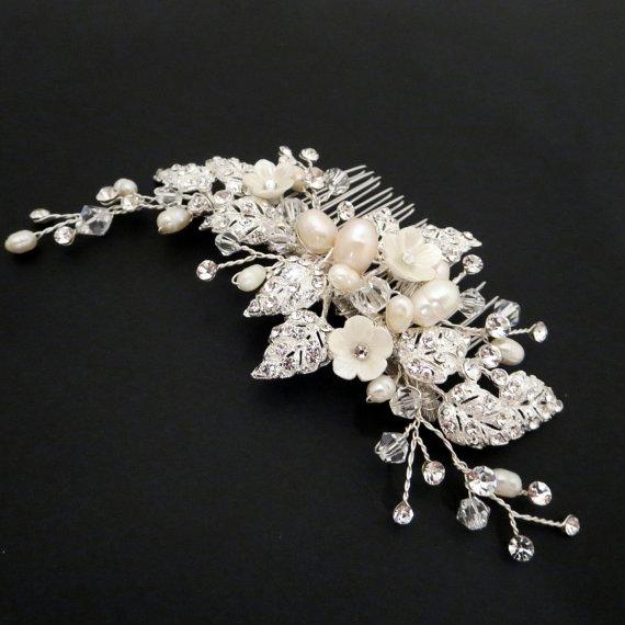 زفاف - Wedding headpiece, Bridal hair comb, Rhinestone flower hair comb, Wedding hair comb, Freshwater pearl