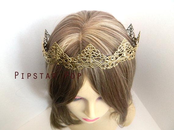 زفاف - Antique Gold Filigree Medieval Crown (CR03) Princess style metal link crown for Larp, renaissance fair, and elven wedding