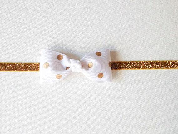 زفاف - Baby/Girls/Child's Hair Bow Headband, White and Gold Headband, Flower Girl Hair Accessory, Polka Dot Hair Bow Headband, Glitter Headband