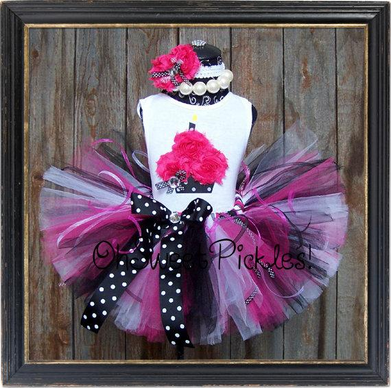 Hochzeit - PINK in PARIS - Birthday Tutu Skirt Set, Hairclip/Headband & 3D Cupcake Shirt - Newborn, 1st, 2nd, 3rd, 4th, 5th, 6th, 7th