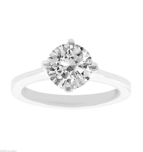 زفاف - Diamond Solitaire Engagement Ring 14K White Gold 1.01 Carat Certified  Gallery Design Ring