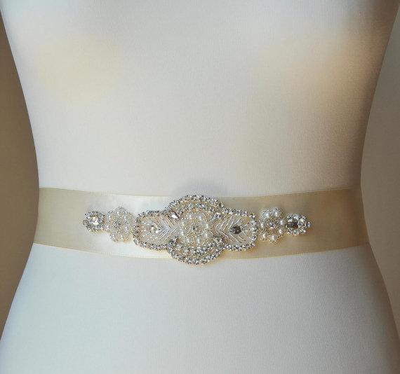 Свадьба - Bridal Sash Belt, Wedding Dress Sash Belt, Rhinestone Bridal Bridesmaid Sash Belt, Wedding dress sash