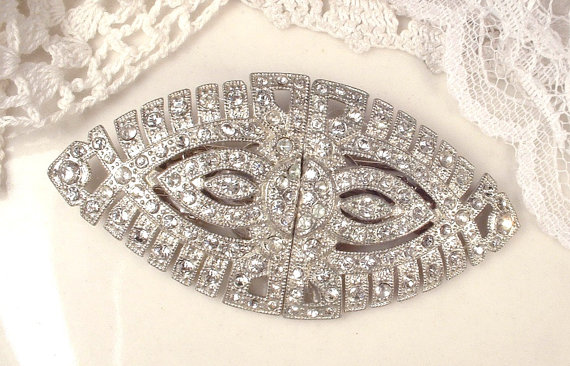 Mariage - Antique HaiR CoMB OR Sash Brooch,1920s 1930s Duette Clip, Art Deco Pave Rhinestone Oval Silver Bridal Pin, Great Gatsby Wedding Hairpiece