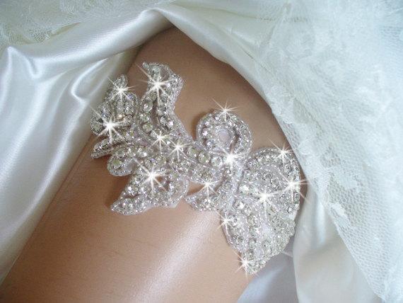 Hochzeit - Bridal Accessories, Rhinestone Garter Belts, Wedding Garter, Crystal Garter, Bling Wedding Garter, Bridal Garter, Beaded Wedding Garter