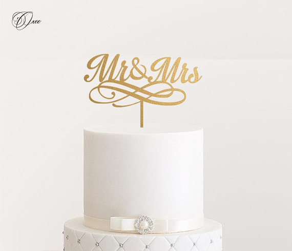 Wedding - Mr and Mrs wedding cake topper by Oxee, metallic gold and silver personalized cake toppers