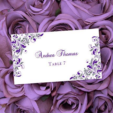 "زفاف - Printable Place Cards ""Kaitlyn"" Purple and Gray 10 Per Sheet Flat Editable Word.doc Avery Compatible Instant D. ALL COLORS Av. DIY You Print"