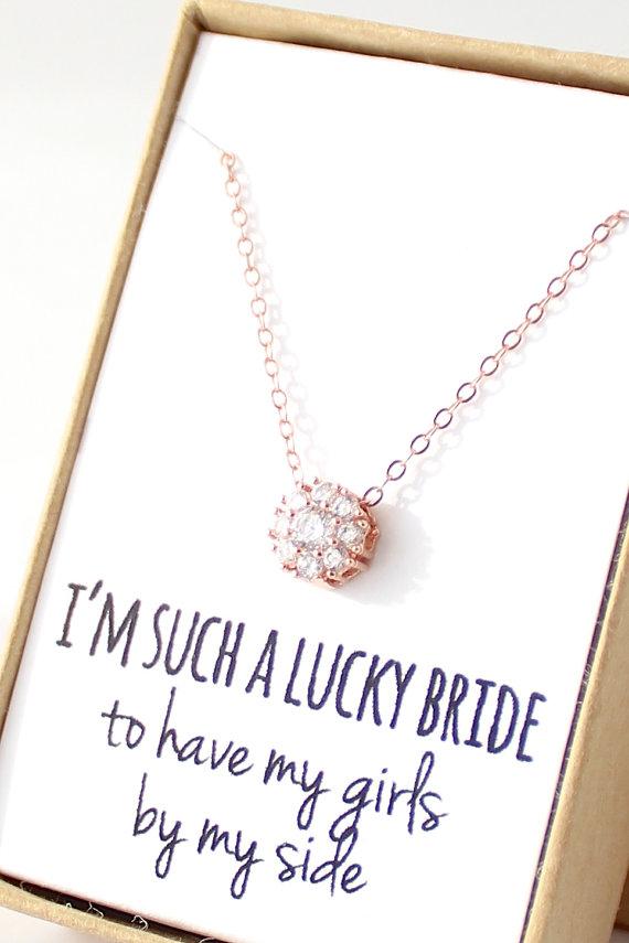 زفاف - Rose Gold Bridesmaid Necklace - 14K Rose Gold Jewelry - Cubic Zirconia - CZ Solitaire - Delicate - Rose Gold Bridal - Dainty Rose Gold Tiny