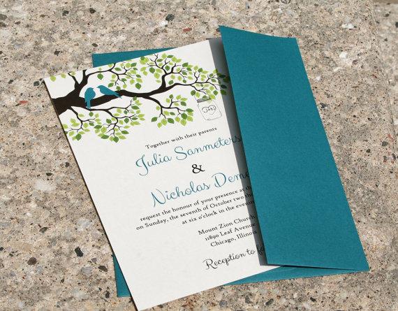 Mariage - Rustic Branch Love Birds Wedding Invitation with Mason Jar - DEPOSIT