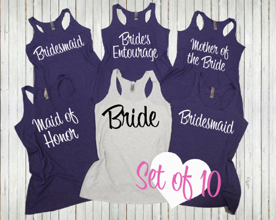 db4cad2b7e400 10 Bridesmaid tank top. Bachelorette Shirts. Set of 10 Bridesmaid shirts. Wedding  tank tops.