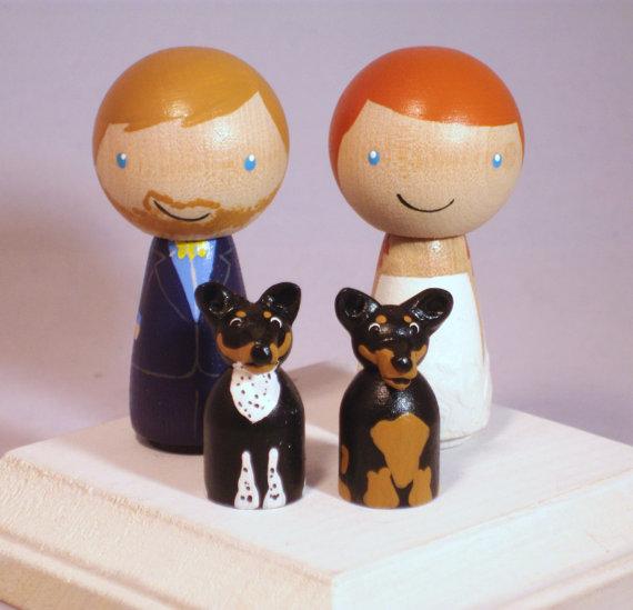 Wedding - New Pet Topper Wedding Topper with Two Pets Custom Kokeshi Wedding Cake Topper Kokeshi Doll Wedding Toppers Custom Cake Toppers