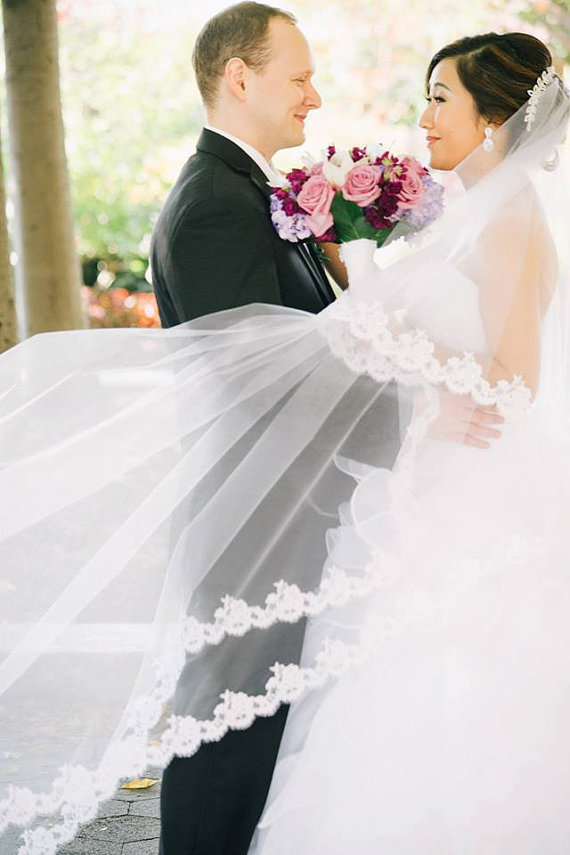 Mariage - Wedding Veil - Cathedral Drop Two-Tier Mantilla with Narrow French Alencon Lace - made to order
