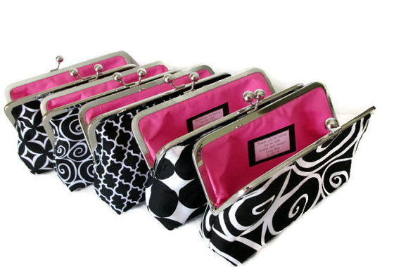 Mariage - Black and White Bridesmaid Clutches - Design Your Own - You Choose Fabrics - Wedding attendant gifts