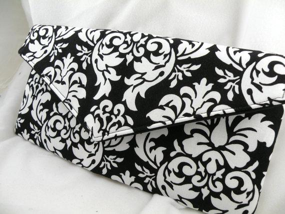 Hochzeit - Envelope Clutch/Evening Bag/Purse/Wedding/Bride/Bridesmaid--Black and White Dandy Damask