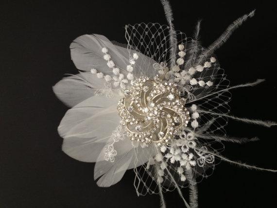 "Wedding - Bridal Fascinator Head Piece, Ivory Bridal Hair Clip, Wedding Hair Accessory, Ivory Netting Bridal Clip, Feathers, Rhinestones ""JADE"""