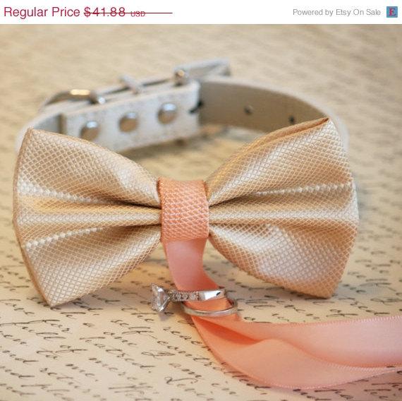 Свадьба - Champagne and Peach wedding, Dog ring bearer, Dog Bow Tie, Pet Wedding accessory, Pet lovers, Champagne and Peach wedding, Gift