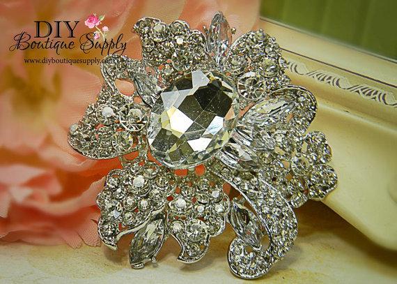 Mariage - Huge Crystal Brooch - Wedding Jewelry - Elegant Wedding Brooch Pin Accessories - RHinestone Brooch Bouquet - Wedding Sash Pin 78mm 330198