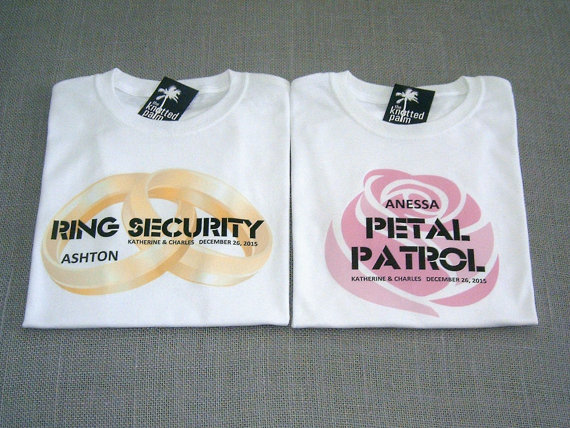 Свадьба - SALE - Ring Security Ring Bearer and Petal Patrol Flower Girl Personalized Wedding T-Shirts : 2 Shirts For 25 Dollars