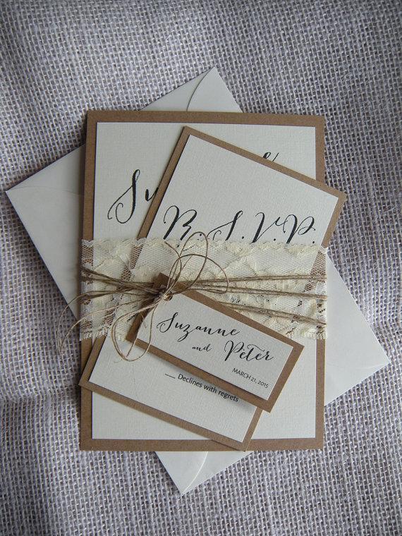 Mariage - Rustic Wedding Invitation, Vintage Wedding Invitation, Burlap Wedding Invitation, Lace Wedding Invitation, Wedding Invitation