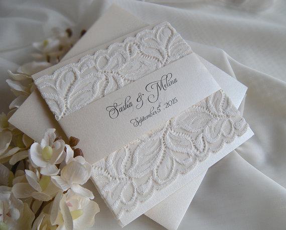 Wedding Invitation, Lace Wedding Invitation, Gold Wedding Invitation, White  U0026 Gold Weddings