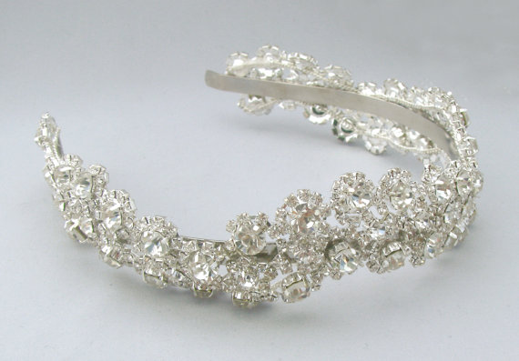 زفاف - Wedding Crystal Rhinestone Bridal Satin Head Band, Silver Bride Head Piece, Metal or Ribbon in 35 Color Options / Champagne / Ivory / White
