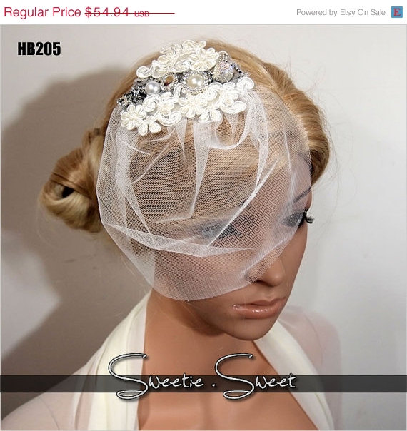 Hochzeit - 40% SALE Bridal Veil, Wedding Veil, Bridal Comb, Face Veil, Birdcage Veil, mini veil, Blusher veil, Vintage Flower Fascinator, Head piece HB