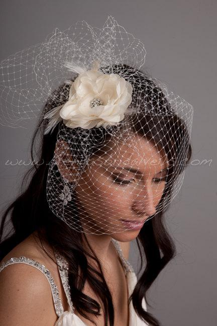 "Mariage - Bridal Birdcage Veil Set, 9"" Veil with Fly-Away Netting and Hand Pressed Silk Flower Fascinator, Wedding Veil Set"