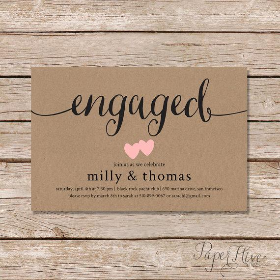 Wedding - Engagement party invitation / rustic couples shower invitation / rustic engagement shower / digital file or professionally printed invite