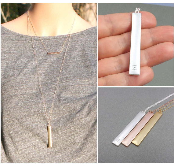 Wedding - Long Bar Pendant Necklace,Personalized Initial Necklace,Pendant Necklace-Silver, Gold, Rose gold-layer initial necklace, Mother's Day gifts