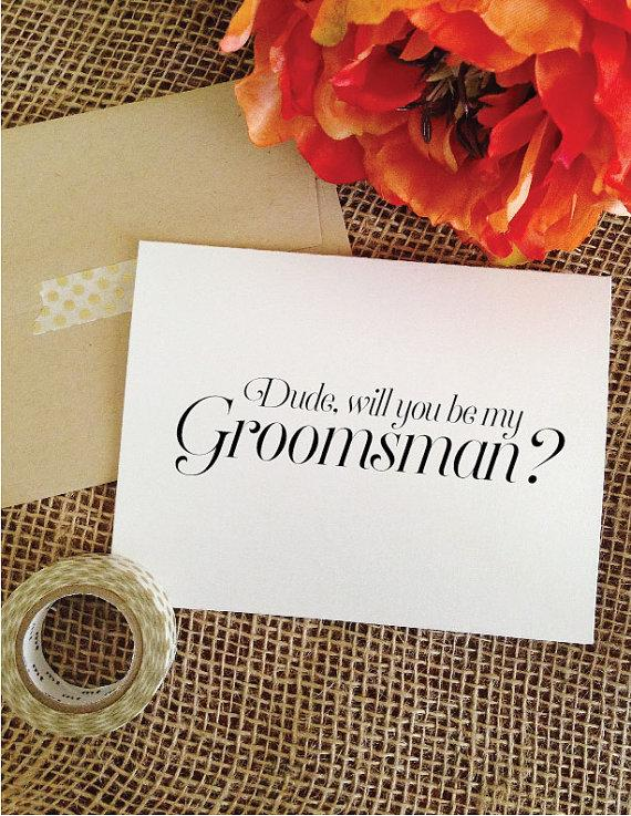Wedding - 6 Asking Groomsmen Cards Dude will you be my- groomsmen invitation, best man card Wedding invitation (Sophisticated)