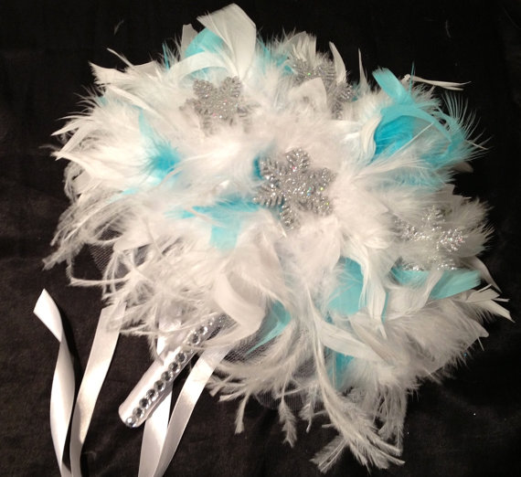 Diy Feather Bouquets Weddings: WINTER WEDDING Aqua Blue And White Ostrich Feather