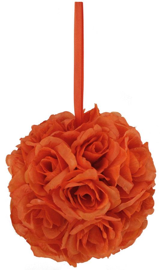 زفاف - Orange Silk Rose Bud Kissing Ball - Pomander