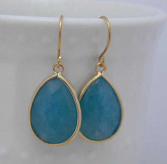 Свадьба - Sea Blue Earrings Trimmed in Gold-Drop Earrings-Dangle Earrings-Bridal