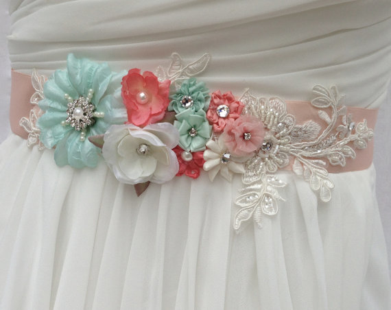 Wedding - Bridal Sash-Wedding Sash In Vintage Peach, Ivory, Mint And Coral With Lace, Pearls And Crystals, Wedding Dress Sash, Bridal Belt,