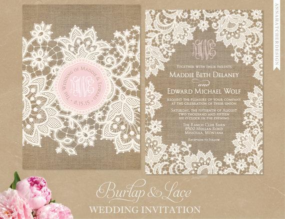 زفاف - Burlap and Lace Wedding Invitation, FREE Shipping