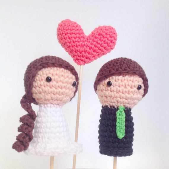 Wedding - Wedding Cake Toppers (Bride, Groom and One Heart)
