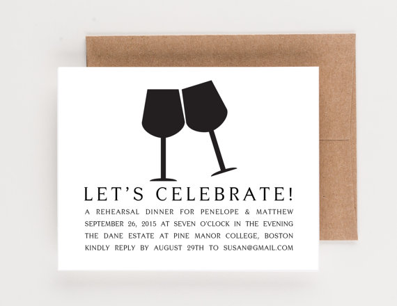 زفاف - Let's Celebrate Rehearsal Dinner Invitation, Wine Pairing or Party Invitation