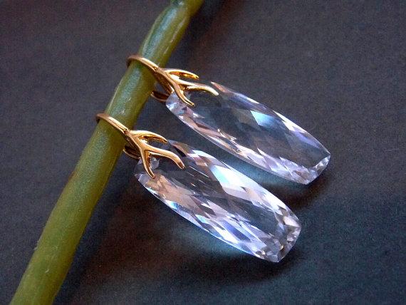 Свадьба - Crystal Quartz Emerald Cut Gemstone Earrings AAA Quartz Earrings 18k Gold Vermeil Leaf Leverback Ear Wires Bridal Jewelry