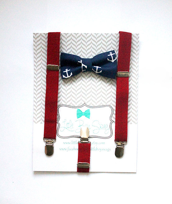 Mariage - Nautical Bow Tie Suspender Set..Boys bow tie..Bow tie and suspenders set..Kids Clothing..Boys wedding outfit..Kids bow tie..Wedding..Summer
