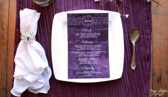 Mariage - Watercolor Wedding Menu Cards in Any Color - Purple Wedding Menus - Elegant Script Reception Menus - Violet
