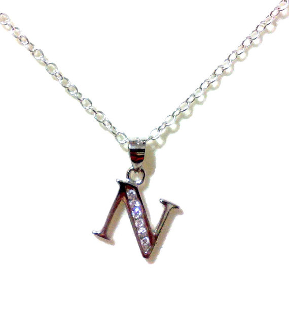 Свадьба - Letter N Bridal Necklace, Initial Necklace, Alphabet Pendant, Sterling Silver Personalized Jewelry