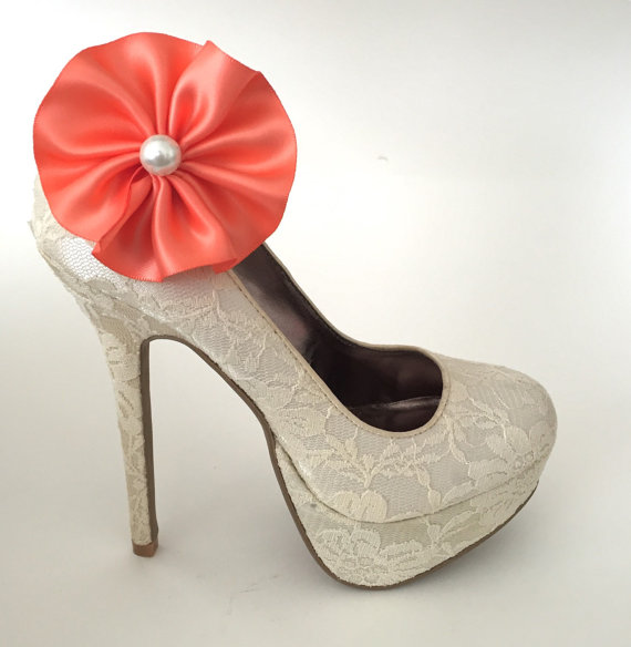 Wedding - Coral Flower Pearl Shoe Clips - 1 Pair